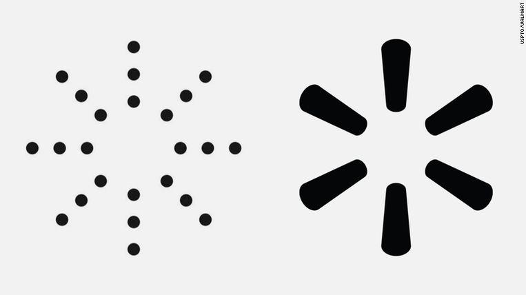 Een beeld van het voorgestelde Yeezy-logo (links) en het Walmart logo (rechts). Beeld CNN