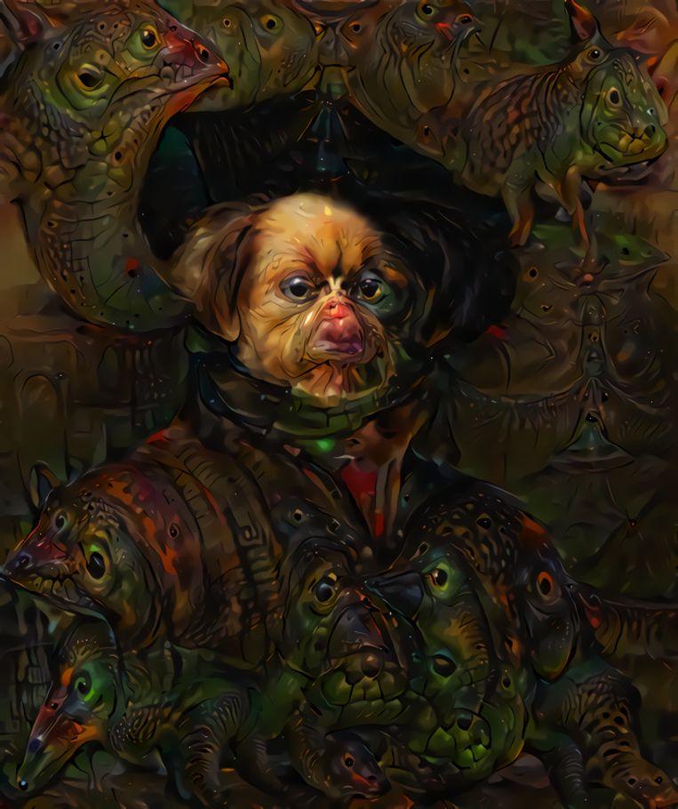 Een zelfportret van Rembrandt waarop Googles programma Deep Dream is losgelaten: een 'dromende' computer aan het werk. Beeld RV