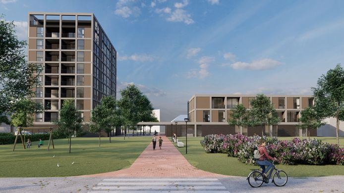 Het wooncomplex van tien verdiepingen met rechts het gezondheidscentrum, gezien vanaf de Visserijstraat richting de Don Sartostraat.