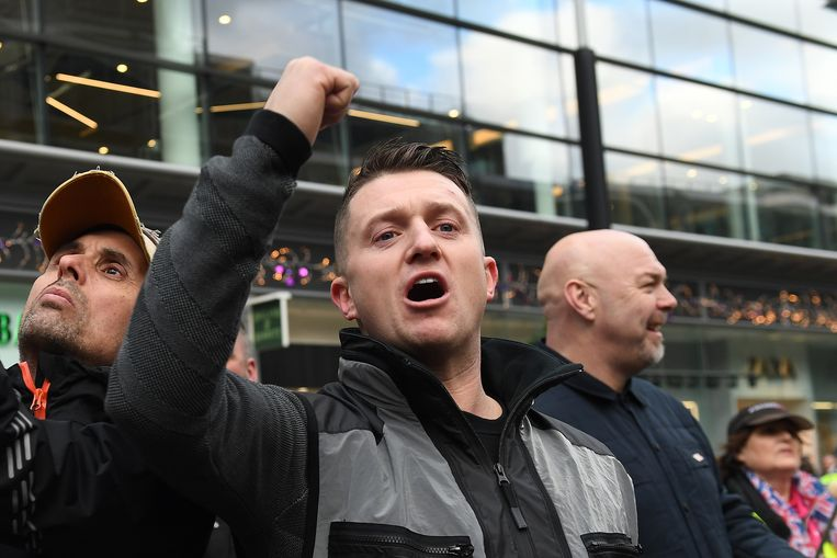 Tommy Robinson is volgens Dewinter 'de Robin Hood van de vrije meningsuiting'. Beeld EPA