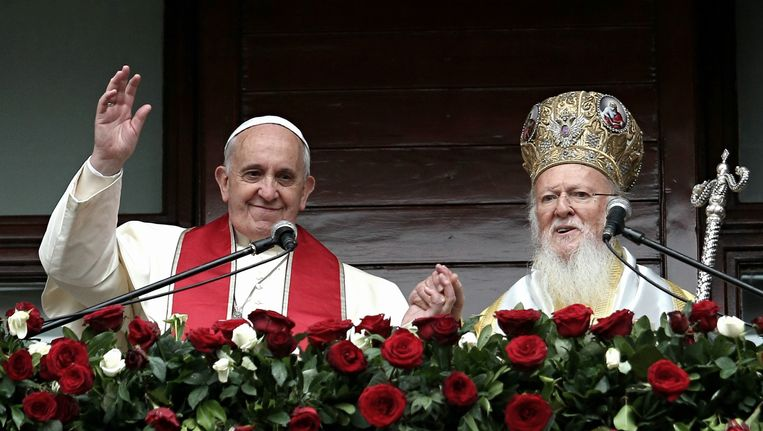 Paus Fransiscus en patriarch Bartholomeus Beeld GETTY