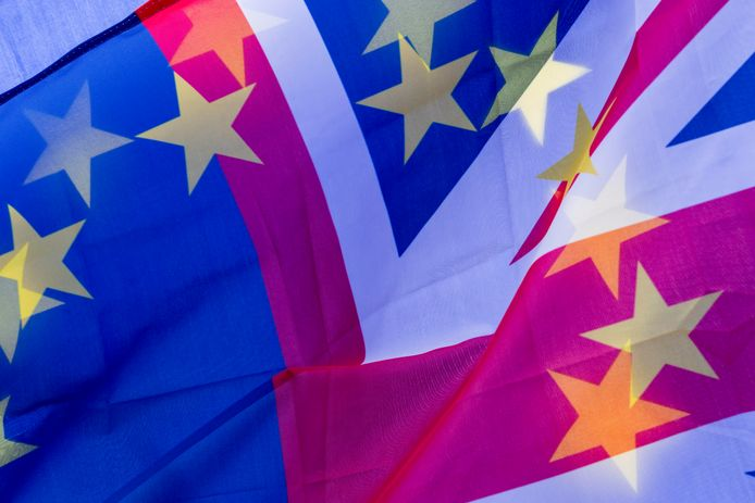 De Europese en Britse vlaggen tijdens een protestmars. Archiefbeeld.
