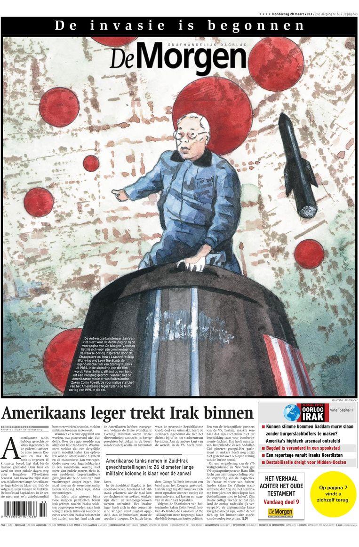 Bij het uitbreken van de oorlog in Irak vroeg de redactie aan kunstenaar Jan Vanriet om te tonen wat de televisie niet kon laten zien. Veertien dagen lang maakte Vanriet uitzonderlijke voorpagina's. Beeld dm