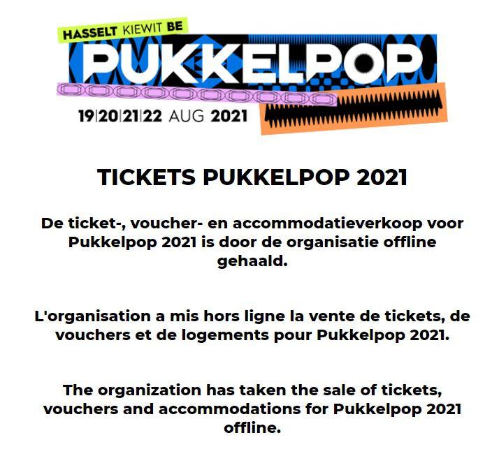 Tickets kopen voor Pukkelpop lukt op dit moment niet.