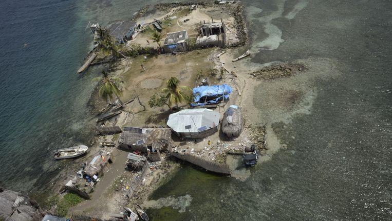 Het eiland Cohabita in de regio Guna Yala in Panama is zeer kwetsbaar voor de stijging van de zeespiegel. Beeld null
