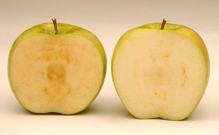 Links een normale Granny Smith na acht uur, rechts een Arctic Apple na dezelfde tijd. Beeld RV