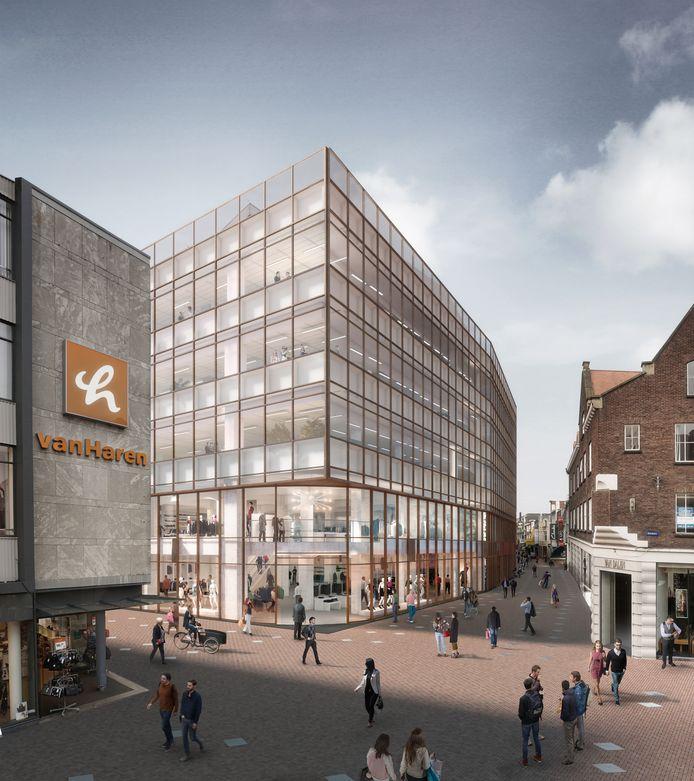 Impressie van het voormalige V&D-pand in de binnenstad van Eindhoven na de verbouwing.