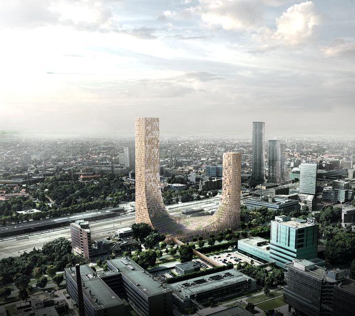 Impressie van het gebouw de Dutch Mountains dat in Eindhoven moet verrijzen. Rechtsachter de torens van District E die op het Stationsplein zijn gepland. Op de voorgrond de gebouwen op de TU/e Campus.