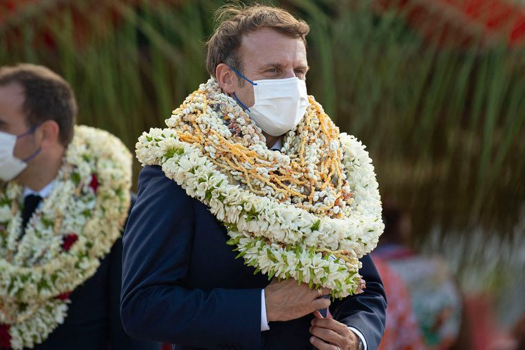 De Franse president Macron bezoekt Frans-Polynesië. Frankrijk hield er in een recent verleden 200 kernproeven. Beeld Brunopress