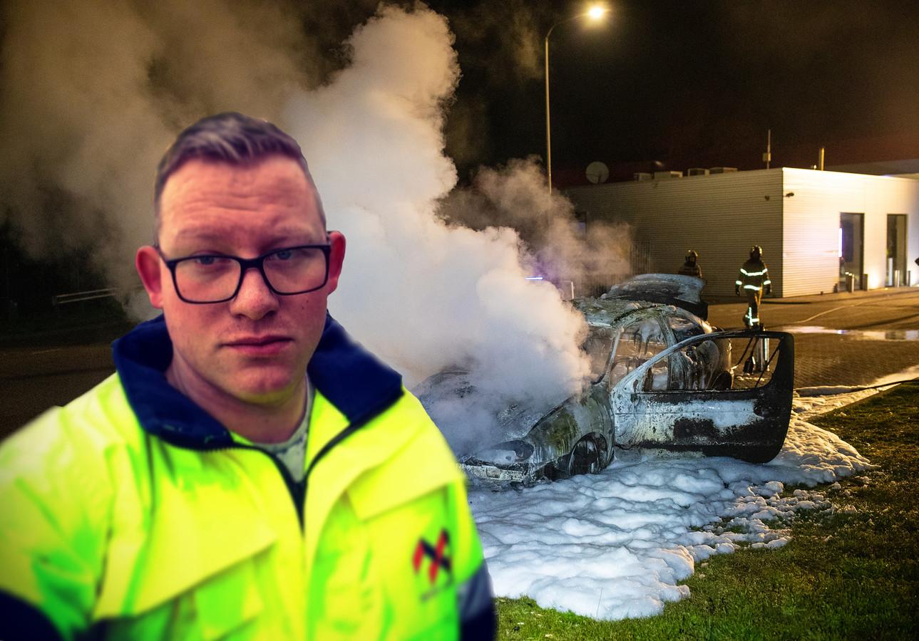 Wesley Meijer (inzet) bedacht zich geen moment toen zijn auto in brand vloog bij het tankstation langs de A28.
