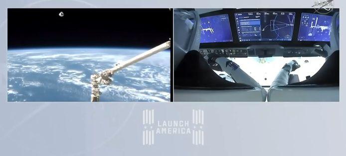 De astronauten in de capsule.