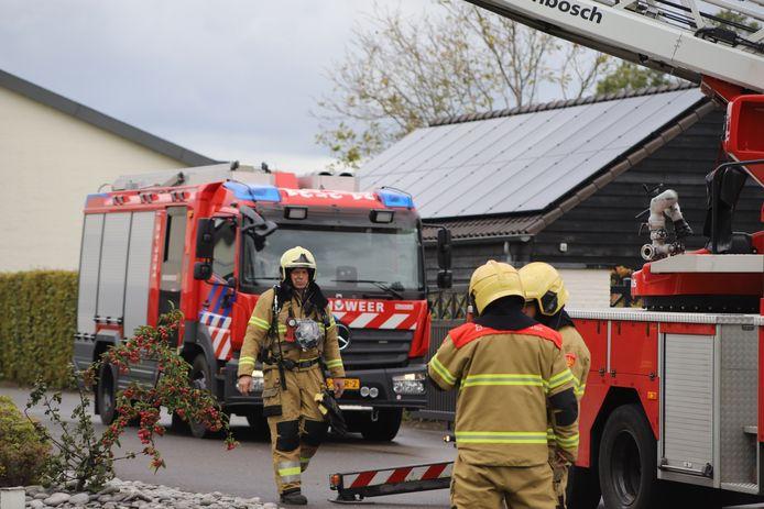 Brandweerlieden aan het werk in Schijndel.