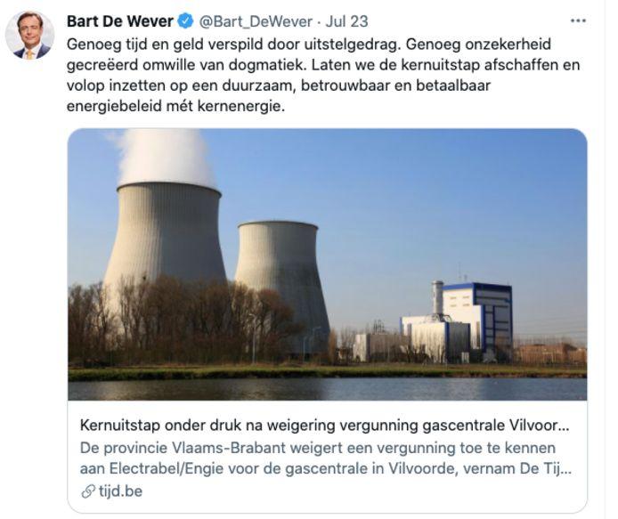 tweet Bart De Wever over  mogelijke komst gascentrale Vilvoorde