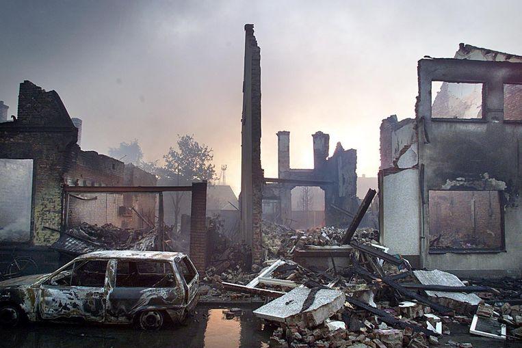 Ravage na de vuurwerkramp in Enschede, in 2000. Beeld ANP