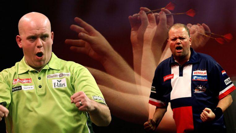 Links Michael van Gerwen, rechts Raymond van Barneveld.