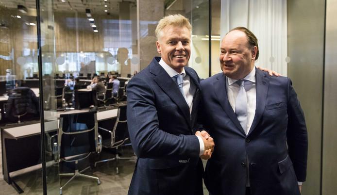Rob Roos (lijsttrekker Zuid-Holland, FvD) en Henk Otten (lijsttrekker Eerste Kamer, FvD) arriveren bij de Provinciale Statenverkiezingen.