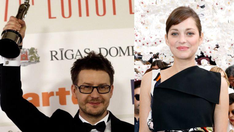 Pawel Pawlikowski, scenarist en regisseur van prijsbeest 'Ida', en Marion Cotillard uit 'Deux jours, une nuit'. Beeld reuters/getty