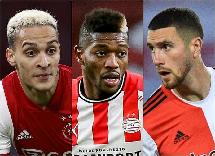 Als je haar maar goed zit: Antony (Ajax), Ibrahim Sangaré (PSV) en Marcos Senesi (Feyenoord) hebben geen corona-coupe.