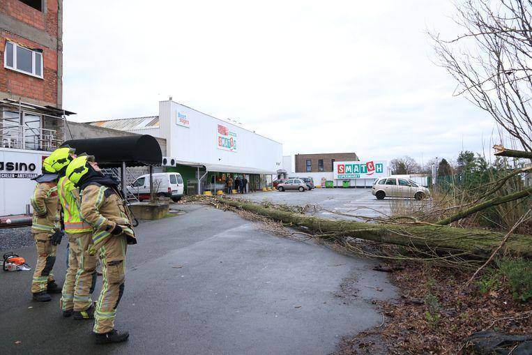 Op de parking van supermarkt Smatch in de Bergstraat in De Klinge kwam een boom op de weg terecht.