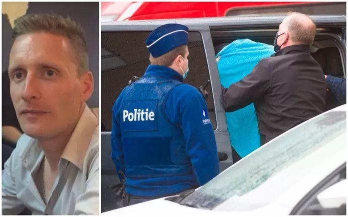 La victime. À droite: l'un des suspects emmenés devant le juge de la jeunesse de Termonde, peu de temps après les faits.