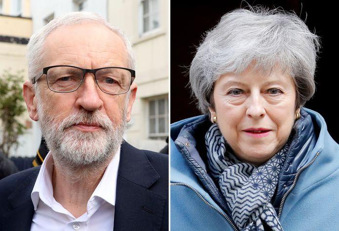 Le leader du parti travailliste, Jeremy Corbyn et la première ministre britannique, Theresa May.