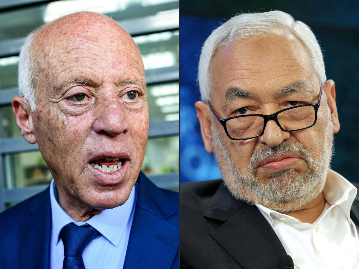 Le président tunisien Kais Saied (à gauche) et le leader du parti Ennahdha et président du Parlement, Rached Ghannouchi