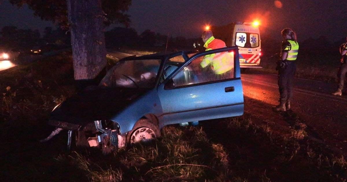 Automobiliste gewond na botsing tegen boom bij Winterswijk: motorblok uit auto gevlogen.