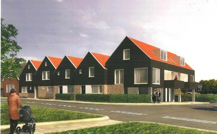 Artist impression van de in Kamperzeedijk te bouwen zes starterswoningen.
