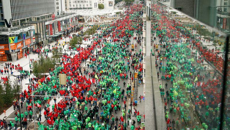 Betogers in het centrum van Brussel. Beeld BELGA