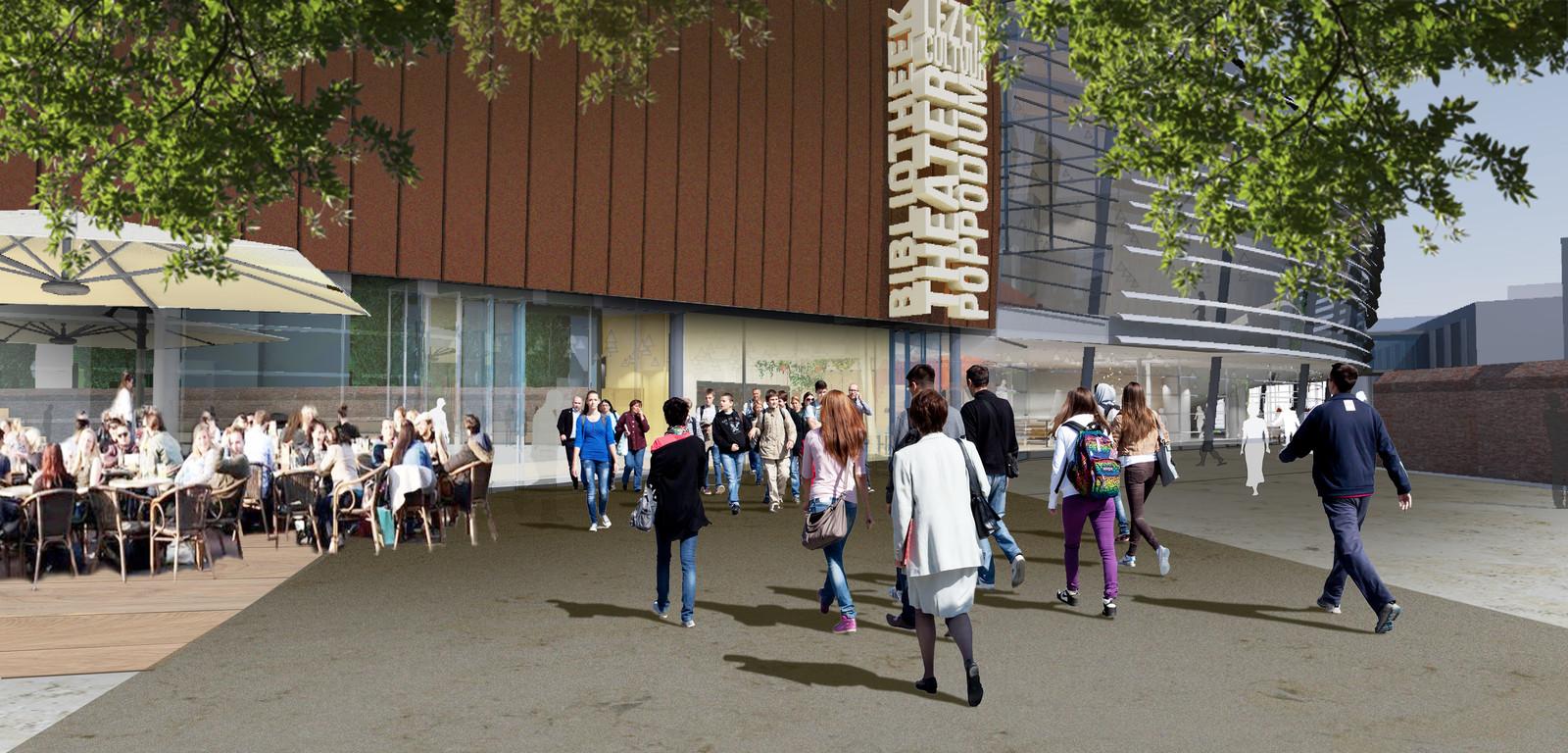 Schetsontwerp van de nieuwe Huiskamer van de stad aan het Wilminkplein.