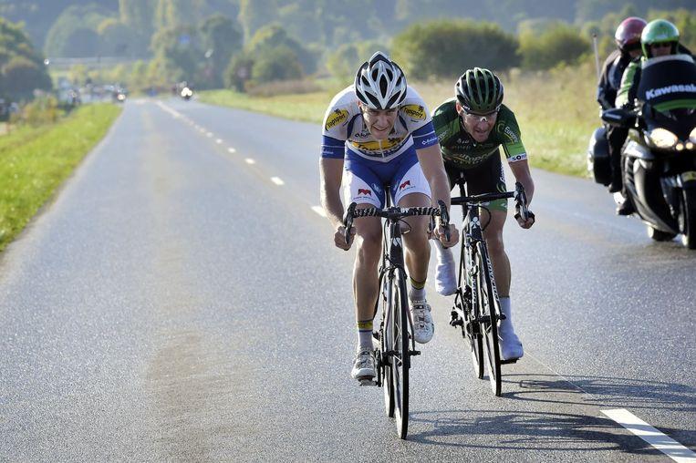 Toen waren ze nog met twee: Wallays en Voeckler op weg naar de Avenue de Grammont. Beeld PHOTO_NEWS
