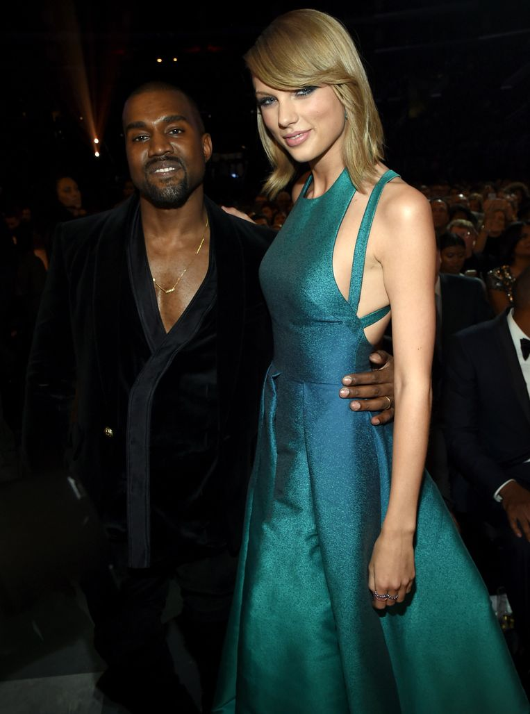 Kanye West en Taylor Swift tijdens de Grammy's zondag.
