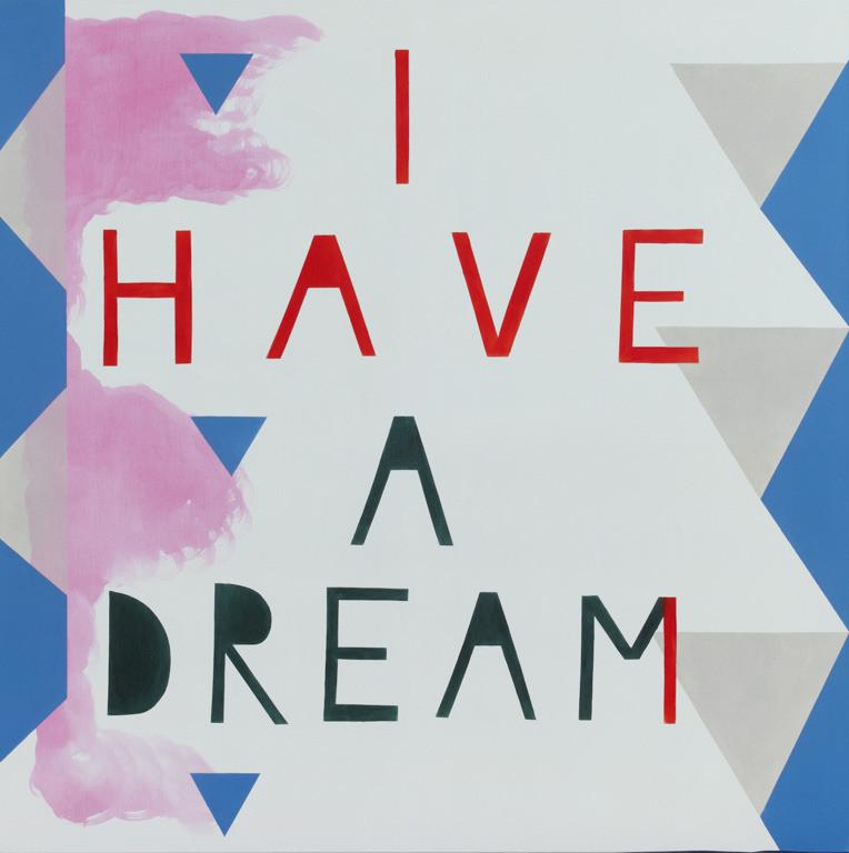 'I have a dream' (2012). Barack Obama (orig. M.L.King) 140 x 140 cm. Acryl-katoen. THE EKARD COLLECTION.