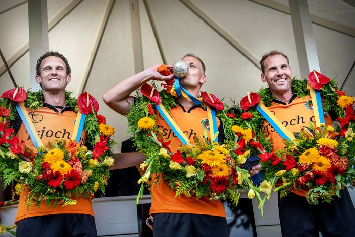 Winnaars Gert-Anne van der Bos, Taeke Triemstra en Erwin Zijlstra (in het midden).