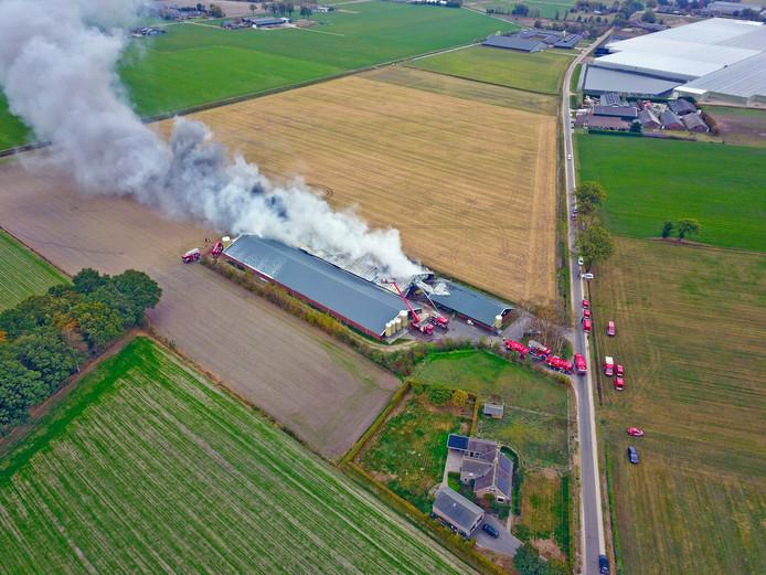 De brand in de varkenshouderij in Heusden, op 23 oktober.