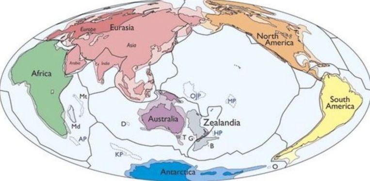 De zeven continenten, volgens de onderzoekers. Beeld gns