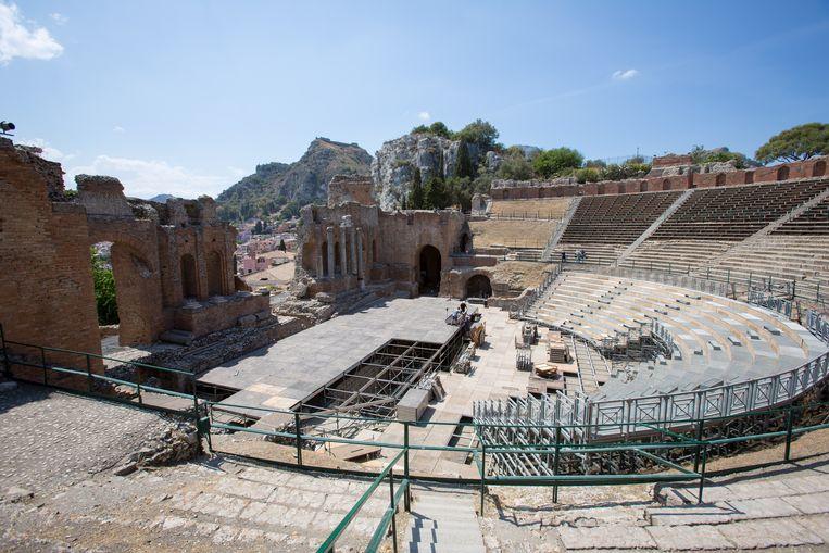Het Griekse theater in Taormina, langs de oostkust van Sicilië.  Beeld Dieter Moeyaert