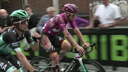 VIDEO. Ackermann houdt flink wat schaafwonden over aan stevige val in tiende Giro-rit - Moschetti moet opgeven
