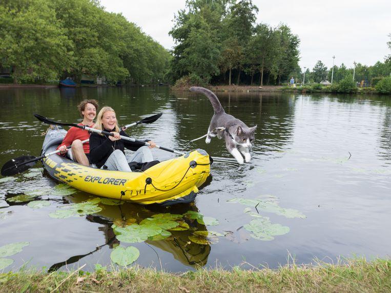 Daphne Persoon, Peter Saalbrink en Ozzie. 'Zodra ze golven ziet, gaat ze op de neus van de boot zitten.' Beeld Ivo van der Bent