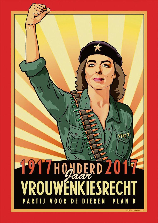 De poster die Joost Veerkamp in 2017 maakte in opdracht van de Partij voor de Dieren, ter herdenking van honderd jaar vrouwenkiesrecht Beeld null