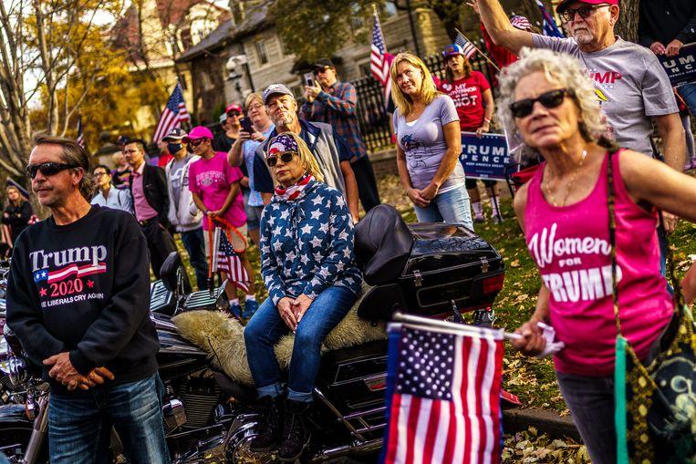 Supporters van president Donald Trump protesteren in Minnesota. Beeld Hollandse Hoogte / AFP