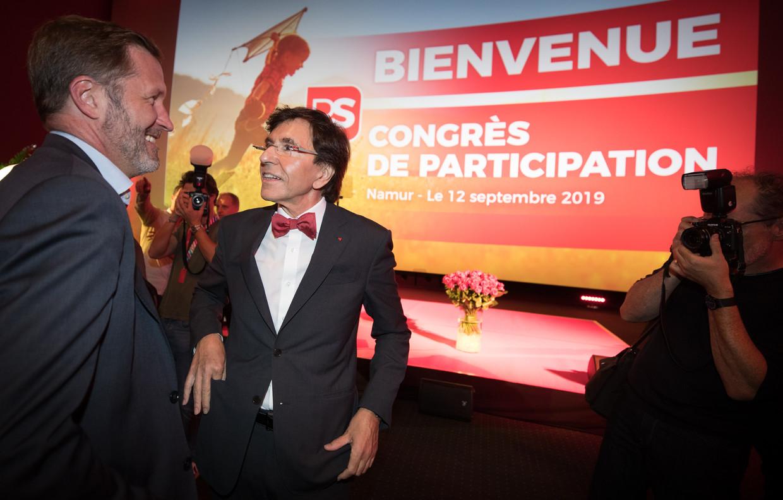 PS-voorzitter Elio Di Rupo (rechts) en zijn kandidaat-opvolger Paul Magnette.