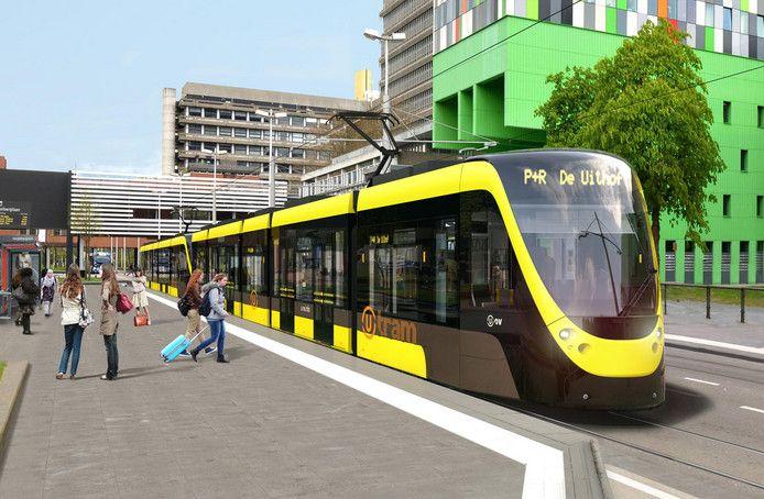 De Uithoflijn, zoals die in 2018 zou moeten gaan rijden.