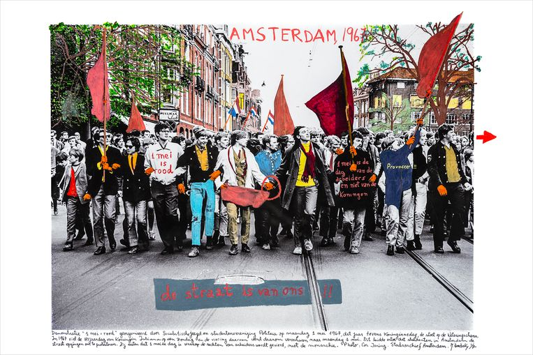 Amsterdam 1967, uit de serie PROVOS Seeds of new ideas (2018).  Beeld Marcelo Brodsky / Rolf Art