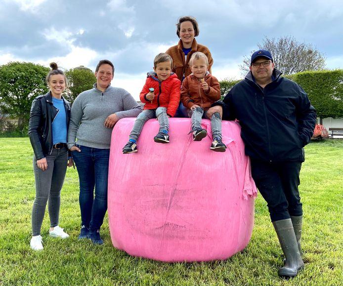 Familie Aertsen op één van de grasbalen in roze plastic. V.l.n.r.: medewerkster Kobi Barschow (24), Mieke Aertsen (32), Sofie Aertsen (31) met haar tweelingzoontjes Lex (4) en Leon (4), en Jan Aertsen (56)