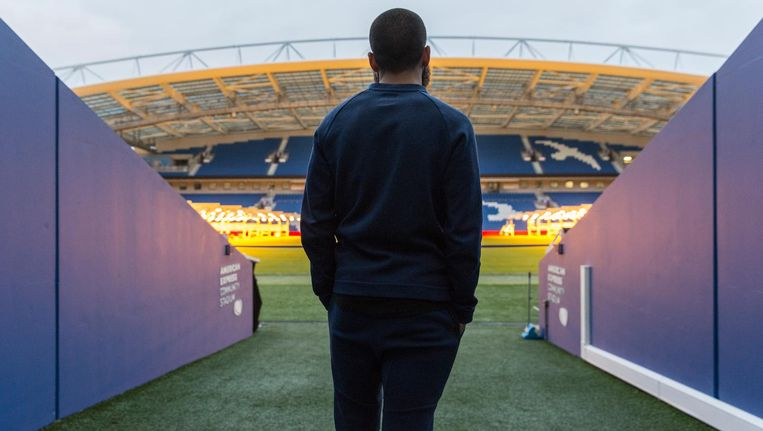 Soufyan Ahannach in het American Express Community Stadium van Brighton & Hove Albion Beeld Dingena Mol