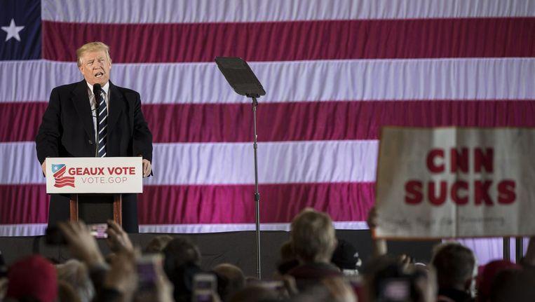 Donald Trump tijdens een bijeenkomst in Baton Rouge, Louisiana in december 2017. Beeld afp