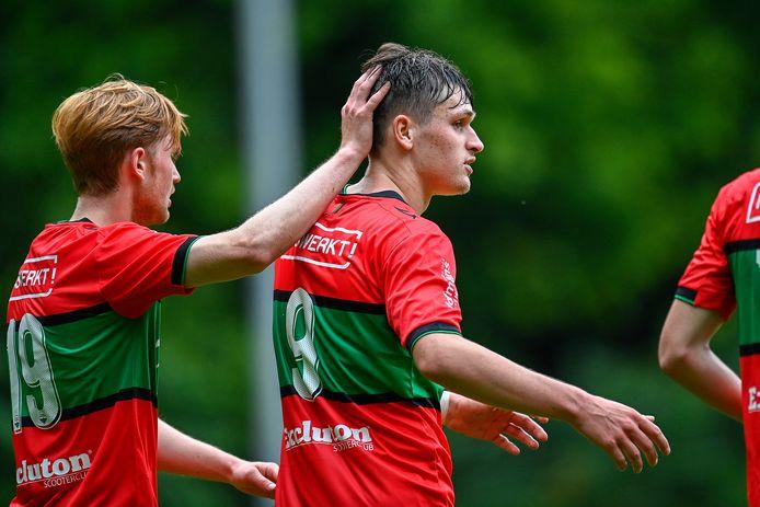 Thibo Baeten tijdens de oefenwedstrijd van NEC tegen SC NEC (13-1), waarin hij liefst zes keer scoorde.