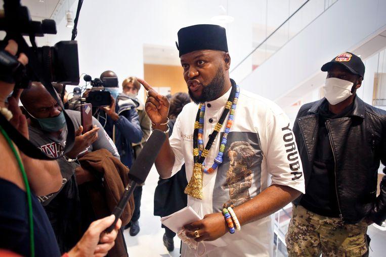 De Congolese activist Mwazulu Diyabanza. Beeld AP
