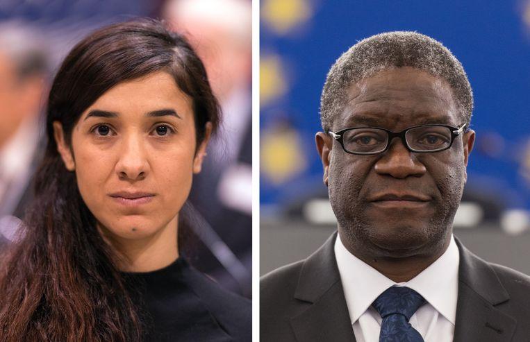 Nadia Murad en Denis Mukwege winnen samen de Nobelprijs voor de Vrede. Beeld EPA
